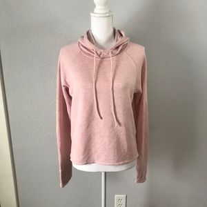 Reebok Lightweight Pink Hooded Long Sleeve Top